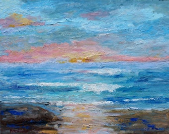 Soft Sunset San Diego painting original oil palette knife impressionism on canvas 24x30 fine art by Karen Tarlton