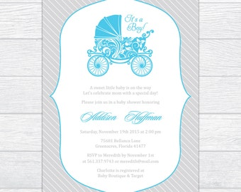 Elegant Carriage Baby Shower Invitation, Baby Boy Shower Invitation, Personalized Baby Shower Invitation, Printable Baby Shower Invite