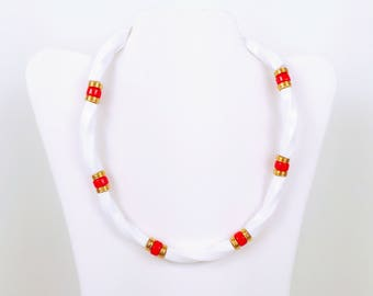 Vintage 1970s White, Red and Gold Plastic Necklace