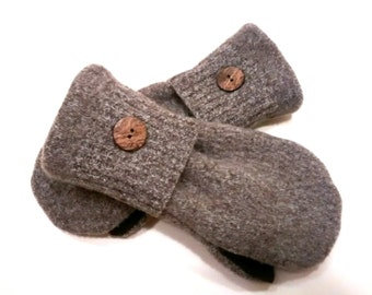 Beautiful browns, medium mittens, recycled sweaters, women's mittens, fleece lined mittens, mittens with buttons