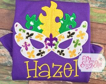 Girls Purple Fleur de Lis Mask Mardi Gras Shirt