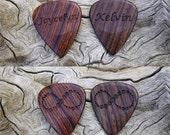 Custom Order - 2 Handmade Laser Engraved Premium Wood Guitar Picks - Cocobolo Rosewood & Mun Ebony