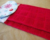 CHRISTMAS Hanging Kitchen Towel - Turquoise Red Snowflakes Button Top Towel - Red Kitchen Dish Towel - Christmas Xmas Holiday Decor