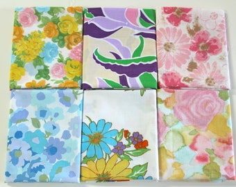 Vintage bed sheet Fat Quarter set 6 reclaimed bed linen fat quarters quilting fabric bundle pink purple blue Spring Summer rose floral