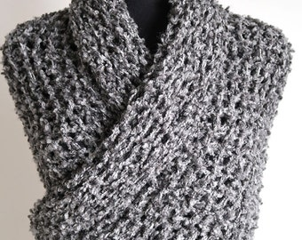 Outlander Inspired Shawl Gray Color Wrap Large Size Knitted Chunky Boucle Large Shawl Long Stole with Tassels