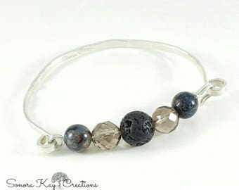 Sterling Silver  Spring Clasp Bracelet with Lava Bead to Diffuse Favorite Essential Oil Scent.
