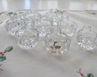 Vintage Salt Cellars - Cambridge Glass - Set of 8 - Individual Salt Dips - Tub - Pattern Heacock 832