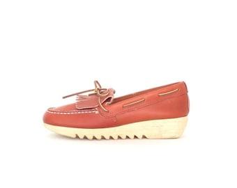 SALE 70s Wedge Loafers * Boho Fringe Shoes * Vintage 1970s Platform Wedges * US 6.5 / 7