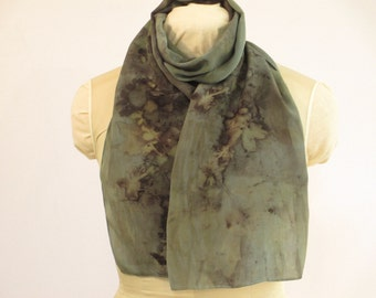 """Indigo Ecoprint Silk Scarf - Blue Gray Brown Taupe - Eco Gift for Her - CDC11161216 - 11""""x56"""" (27 x 142cm)"""