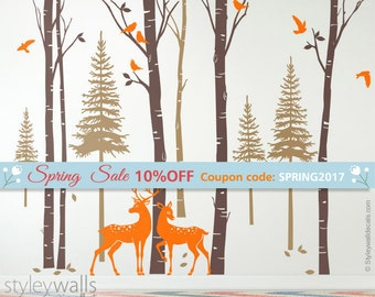 Forest Trees Wall Decal, Birch Trees with Deers and Birds Wall Decal, Pine Trees Wall Decal, Winter Trees Wall Decal for Living Room Decor