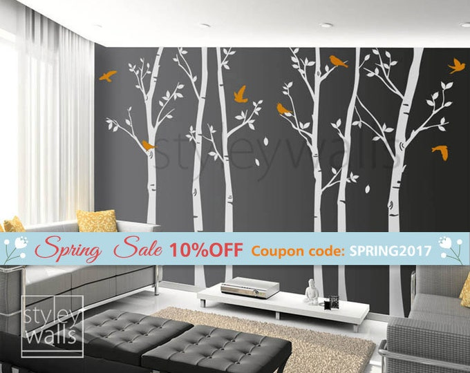 Tree wall decals Winter trees decal Birds nature Forest Trees with Birds Home Decor Set of 6 Vinyl Wall Decal Nursery Baby children Sticker