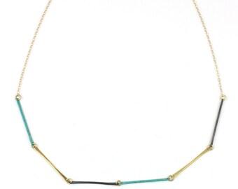 Necklace - Teocalli Bar Necklace - Brass Patina Mix
