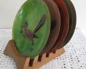 Vintage Enamel and Copper Coasters with Teak Holder Set of 4 Roadrunner Motif