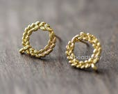 Circle Earring Posts with Loop, 24K Gold Plated Brass, Lead Nickel Free (GB-076)/ 10pcs =5 pairs