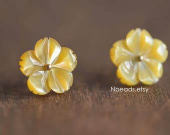 10pcs Yellow Mother of Pearl Shell Carved Flowers 12mm, Center Drilled Flat Back (#V1285)