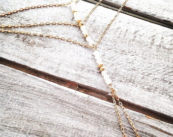 Hand Chain with Gold Filled Chain and White Topaz Gemstones, Slave Bracelet