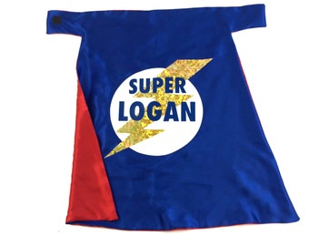 Superhero Cape Personalized Name Red, White and Blue with GOLD Lightening Bolt Easter costume ,2T - 7T, super hero boy toy fast delivery