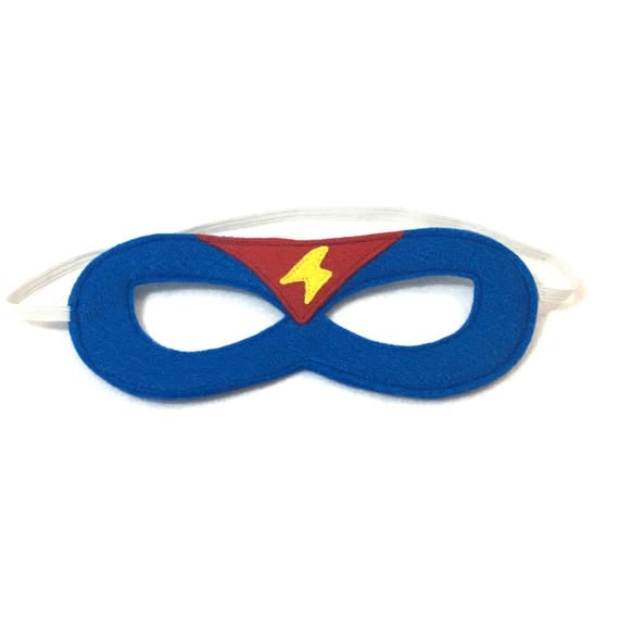 Superhero MASK  BLUE and RED  with lightening bolt - Superhero accessory and gear -