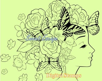 Butterflies and flowers Digital Stamp