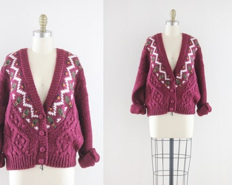 S A L E raspberry slouch sweater / cardigan
