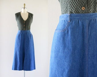 denim midi skirt / m