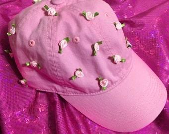 Rose Garden Dad Cap in Light Pink - Hand Sewn Ribbon Rose Strapback Baseball Cap