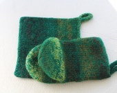 Green Brown Wool Oven Mitt Set, Wool Felt Pot Holder Set, Wool Oven Glove, Oven Mitt Hot Pad Set, Green Oven Mitt, Brown Felt Mitt, Gift