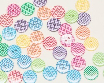 Forty Assorted Chevron 3/4 inch buttons