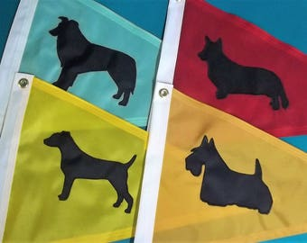 Dog Gift Flag with Corgi, Jack Russell, Border Collie or Scottish Terrier You Choose
