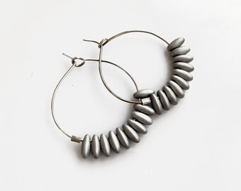 Silver Hoop Earrings, Beaded Hoops, Small Silver Hoop Earrings, Lightweight Sterling Silver Hoops
