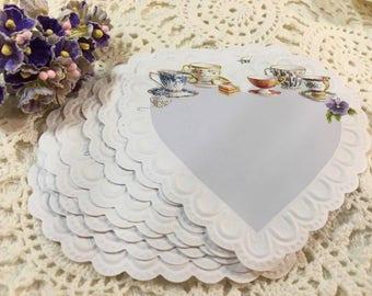 Embossed  Heart Shape - Teacup Note Sheets / Ephemera