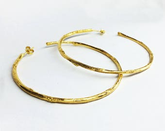 gold branch earrings gold twig earrings 24 K gold plated sterling silver twig hoop earrings branch hoop earrings