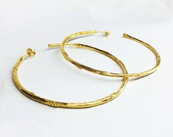 gold branch earrings gold twig earrings 24 K gold plated sterling silver twig hoop earrings branch hoop earrings