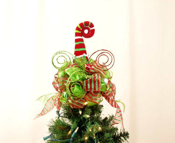 Elf Hat Tree Topper Red And Green Tree Topper Holiday Tree