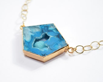 Blue Druzy Triangle Necklace