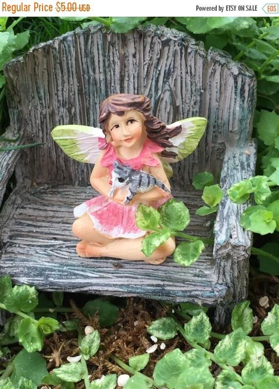 """SALE Mini Micro Fairy """"Bella"""" with Cat Figurine, Fairy Garden Accessory, Garden Decor, Topper, Terrarium Accessory"""
