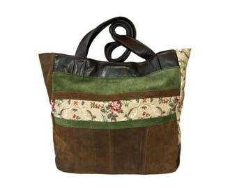 Uptown Tote - Upcycled Brown and Green Leathers with a Vintage Floral Upholstery Fabric and US Army Tent Lining