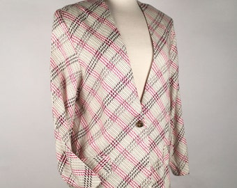 Vintage 90s Blazer, Womens Oversize Blazer, Fuchsia, Blk, Cream, Houndstooth, Windowpane, Rayon, Multiple Sizes, Other Colors, Most Capable!