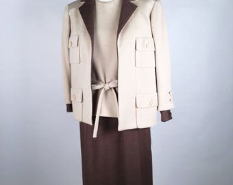 Vintage 60s Norman Norell Suit, 3 Piece, Womens Top, Skirt, Jacket, Tie Belt, Flap Pockets, Two Tone, Brown, Cream, Wool, Color Block