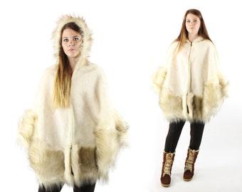 Vintage 70s Faux Fur Cape Hooded Russian Princess Coat Ivory 1970s Hippie Boho Medium M Large L