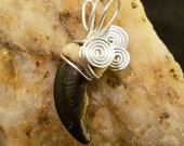 Silver Moon - Real Wire Wrapped Wolf Claw Pendant - Timber Wolf