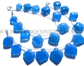 Blue Chalcedony Smooth Apple (Quality AAA) / 14.5 to 16.5 mm / 18 cm / CHALCE-022