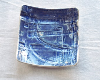 JEANS man bowl, ceramic coin bowl, ceramic denim bowl, valet tray, key bowl, pocket bowl, bits and bobs, gift for him