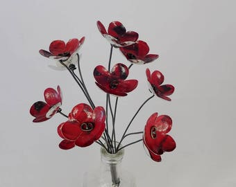 Deep Luscious Reds Bouquet of Tin Forever Blooming Flowers