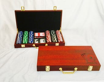 Personalized 300 Chip POKER SET, Poker Set in Rosewood Case with Playing Cards & Dice, Custom Case, Poker Player, Poker Gift Set Fathers Day