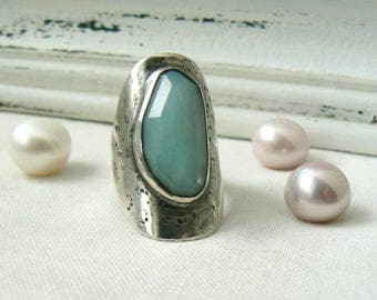 Rose cut Amazonite Ring in Oxidized Sterling silver - READY TO SHIP - Size 6.5 - Large ring