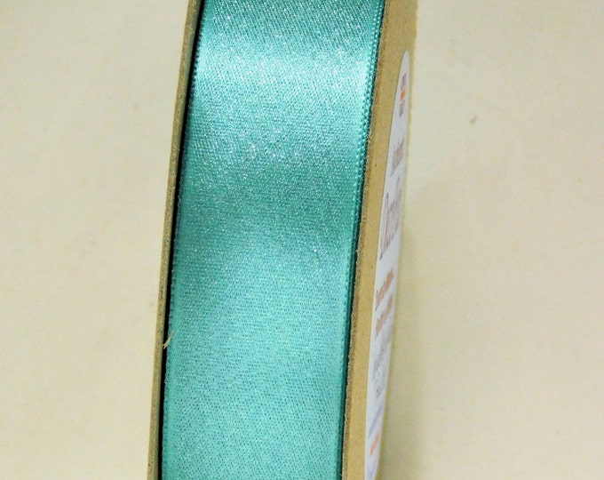 "Turquoise ""wedding"" Blue Ribbon, Glitter Double Satin Ribbon (soft shimmer), Woven Edge, Made in England, 1 inch width (25 mm) 15 ft roll"