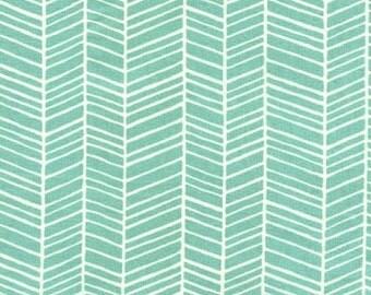 Aqua Herringbone Fabric   Pond Modern Meadow by Joel Dewberry