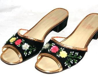 Sweet Little Black Velvet Slides with Gold Trim & Sequin And Beaded Flowers- Size 8 US