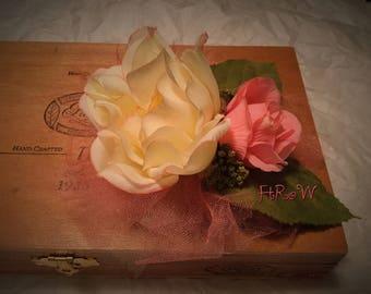 Cream Rose and Pink Rose Fascinator
